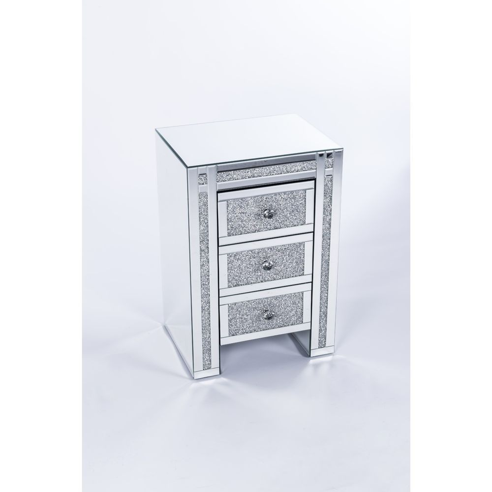 A Pair Of Sparkly Mirrored Glass Diamond Crush Crystal Bedside