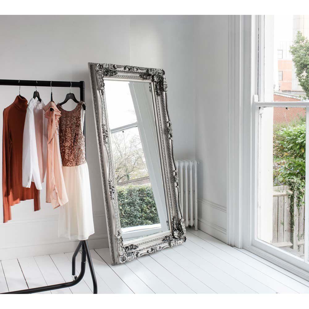 Doubleframed Marquise Silver Mirror Floor standing