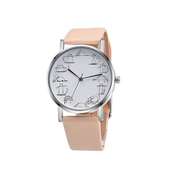 OKTIME Hot Relojes Retro Design Lovely Cartoon Cat Casual Faux Leather Band Analog Alloy Quartz Wrist Watch Levert DropshipD1222