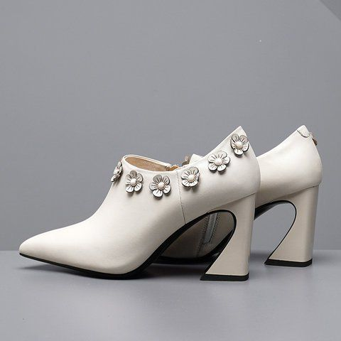 301916716 Buy Boots For Women from Shoes studio at Stylewe. Online Shopping Stylewe  Boots Elegant Pointed Toe White Spool Heel Boots, The Best Working Boots.
