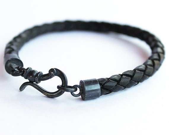 Mens Leather Bracelet black braid bracelet by ChickpeaDesignStudio