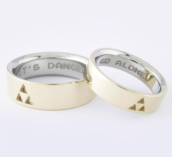 legend of zelda wedding rings its dangerous to go alone take these legend of zelda wedding rings these geeky wedding bands were custo - Anime Wedding Rings