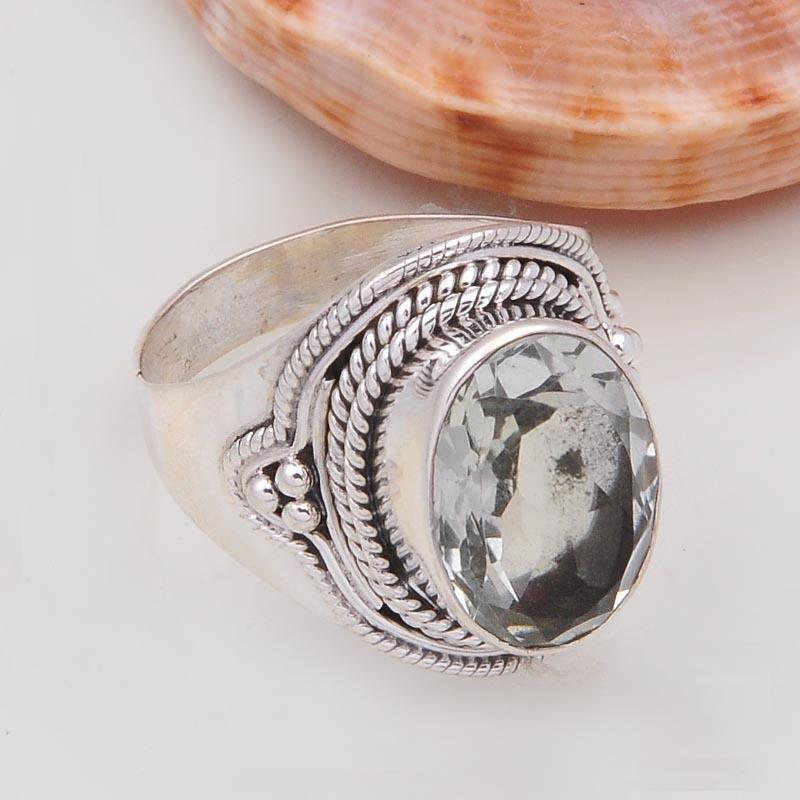 925 SOLID STERLING SILVER FANCY DESIGNER GREEN AMETHYST RING 6.53g DJR4629 #Handmade #Ring