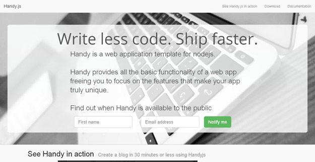 Handyjs  Web Application Template for Nodejs WebToolsDepot - Application Template