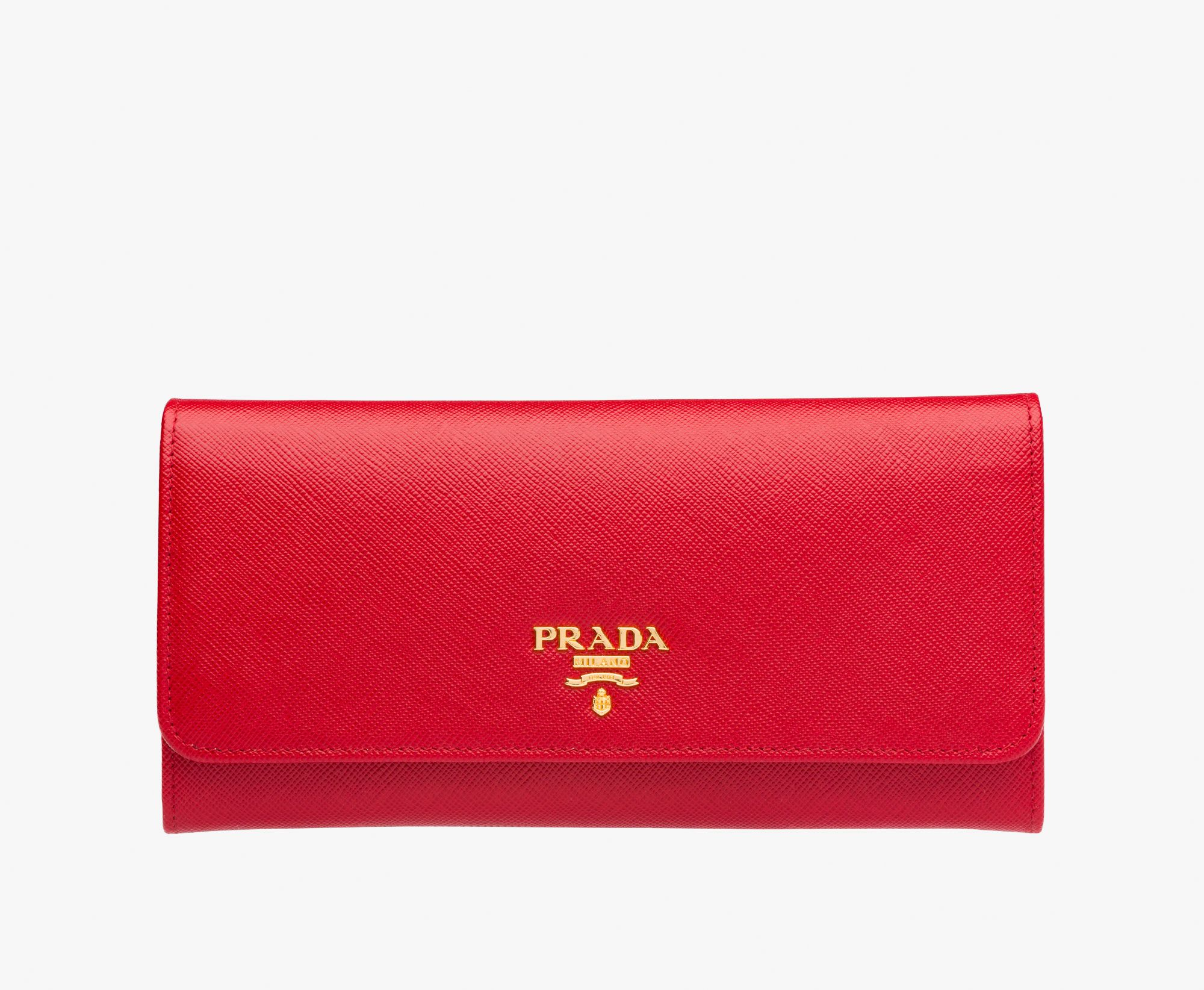 168e208889f4f Saffiano leather flap wallet Gold-plated hardware Metal lettering logo Snap  closure Ten credit card