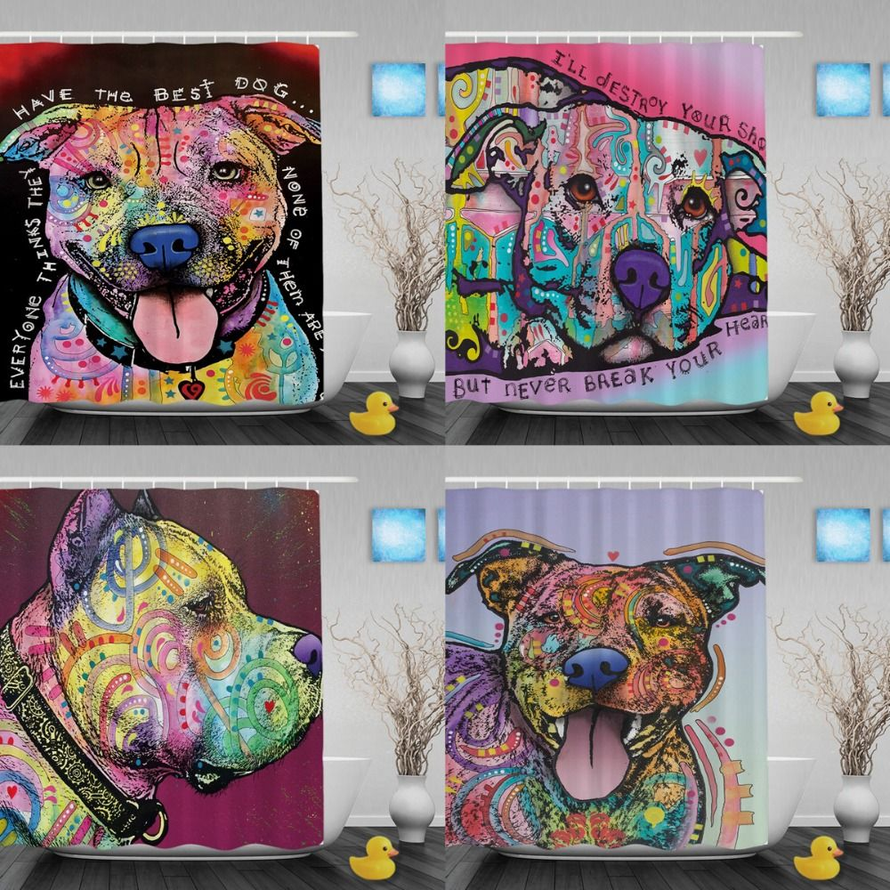 Funny Pet Pitbull Shower Curtains Colorful Art Dog Bathroom Curtain Polyester Fabric Shower Curt Home Depot