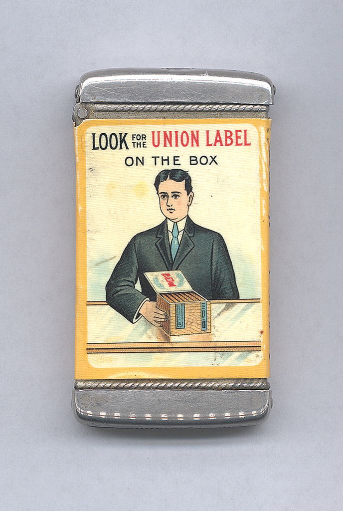 "Matchsafe, ""Advertisement for Cigar Maker's Union #97, Boston"", patented 1905"