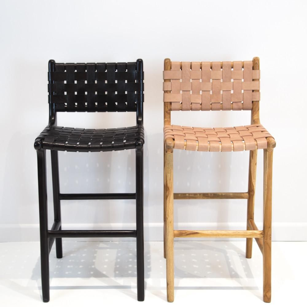 Marvelous Black Leather Weave Bar Stool With Back In 2019 Woven Evergreenethics Interior Chair Design Evergreenethicsorg