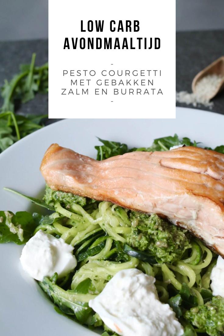 Pesto courgetti met gebakken zalm en burrata - Beaufood