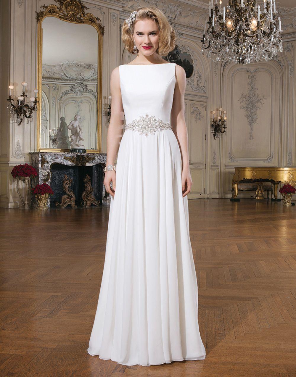 A line chiffon wedding dress  Justin Alexander wedding dresses style  Chiffon Aline gown