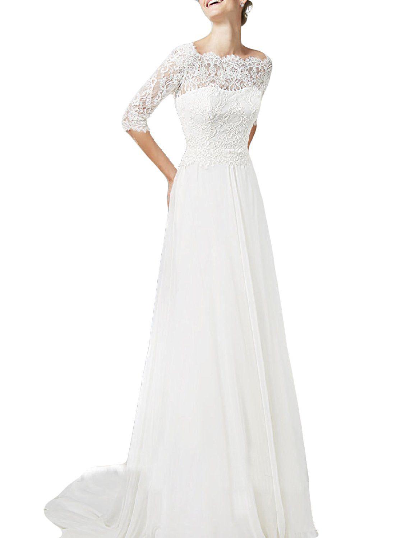 Oyisha womenus half sleeve lace wedding dresses long boat neck bride