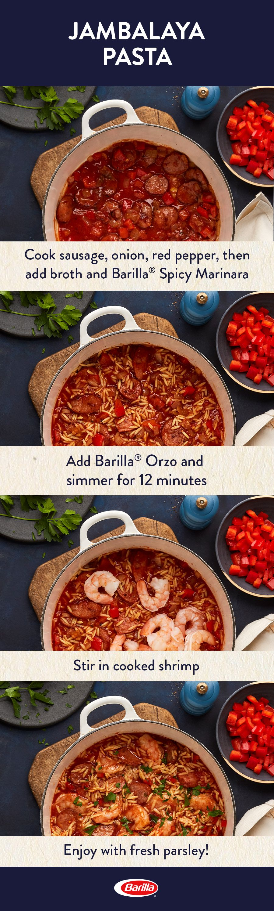 Create A Flavorful Jambalaya Pasta Meal With Our Spicy Marinara Sauce Save This Easy Recipe That Starts With Smoked Sausage Creole Seasoning And With Images Recipes Food