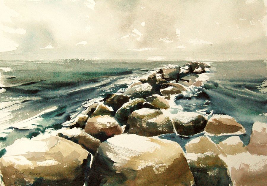 14 X20 Watercolor Painting Of The Rock Jetty At Freeport Tx