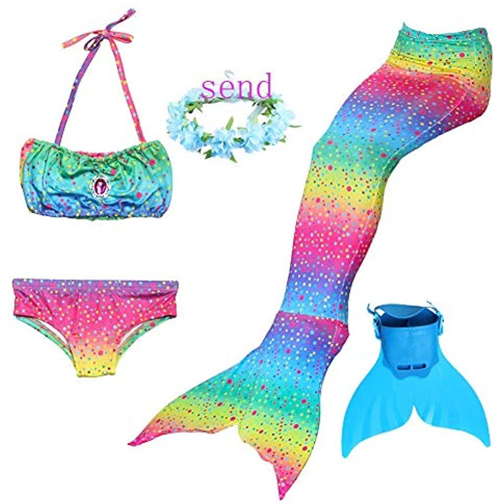 da bambina Wishliker con coda da sirena e bikini Xfdh52 140 cm Set da 4 pezzi per costume da sirena
