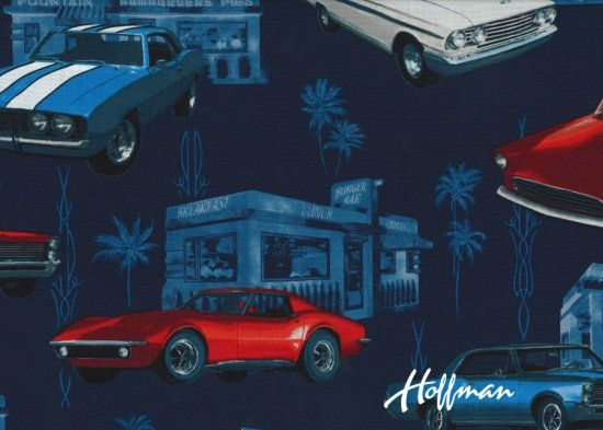 Muscle Cars on Navy / Classic Cars on Black Fabric by the Yard / Classic Cars Hoffman Fabrics 1127-19 / Fat Quarter and Yardage