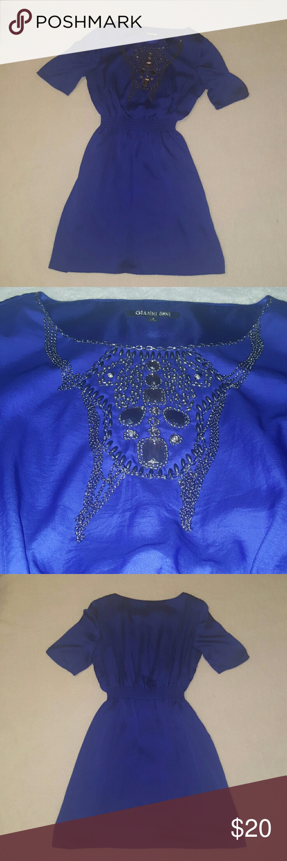 Embellished Navy blue Gianni Bini dress. Worn once. Fits true to size. Gianni Bini Dresses Midi