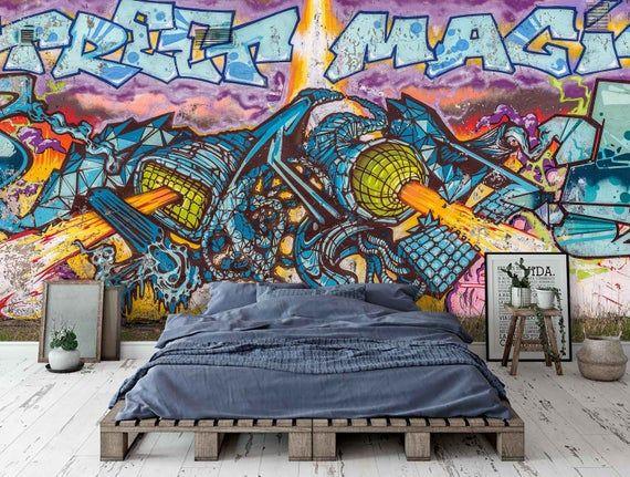 3d Blue Abstrat Cartoon Rocket Graffiti Wallpaper Mural Peel Etsy In 2021 Graffiti Wallpaper Mural Wallpaper Graffiti Wall