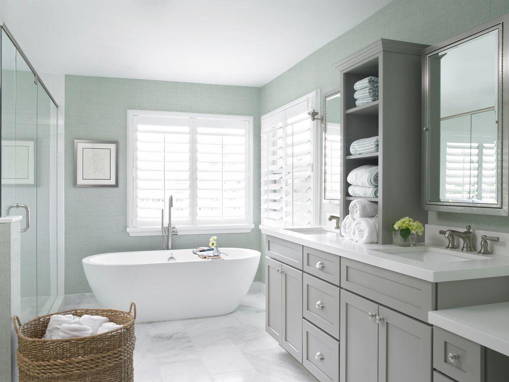 Transitional Master Bathroom With High Ceiling Freestanding Bathtub Limestone Counters U Master Bathroom Design Bathroom Remodel Master Traditional Bathroom