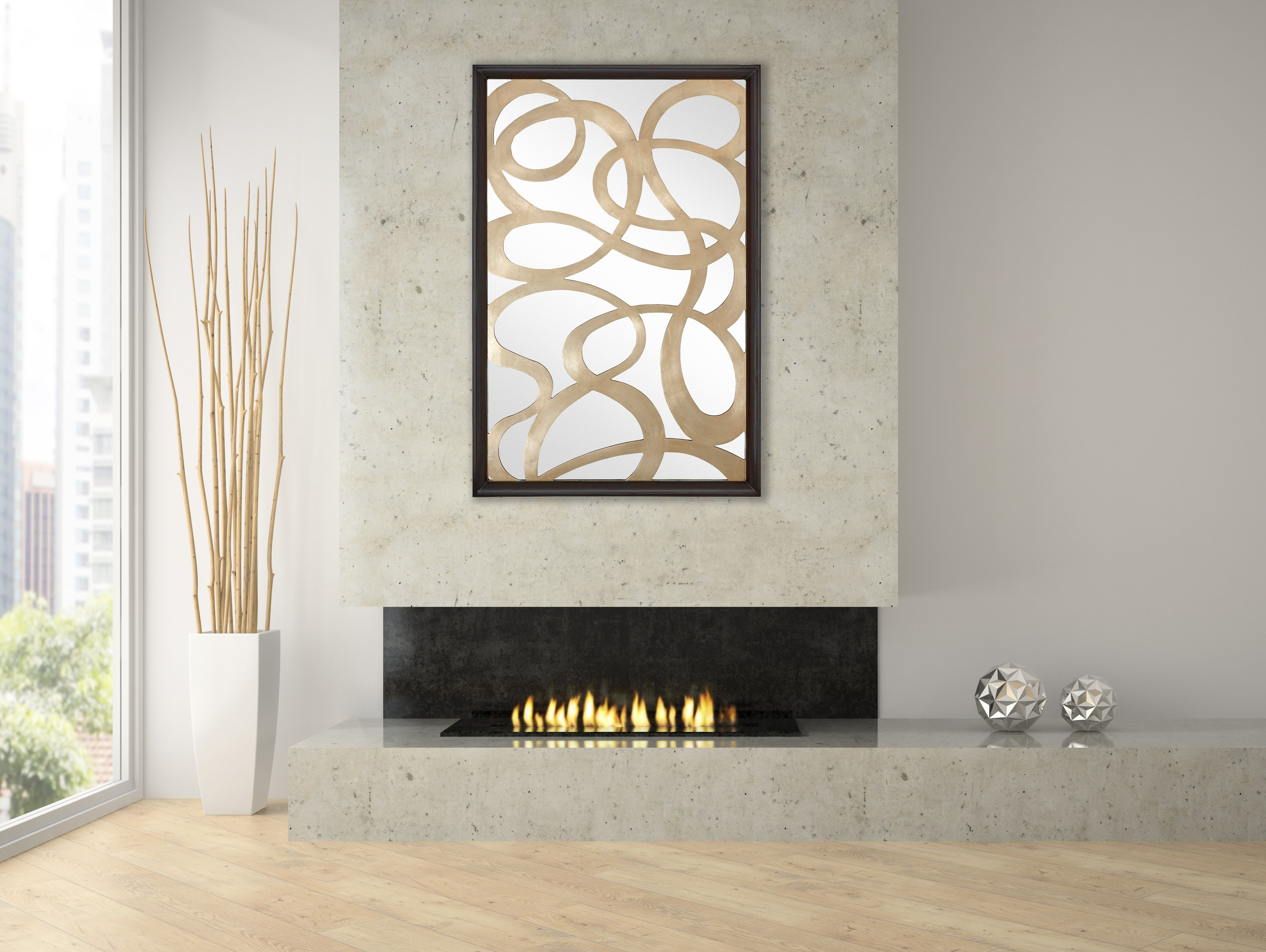 Look at how contemporary mirror #2605 adds visual interest over this living room fireplace.
