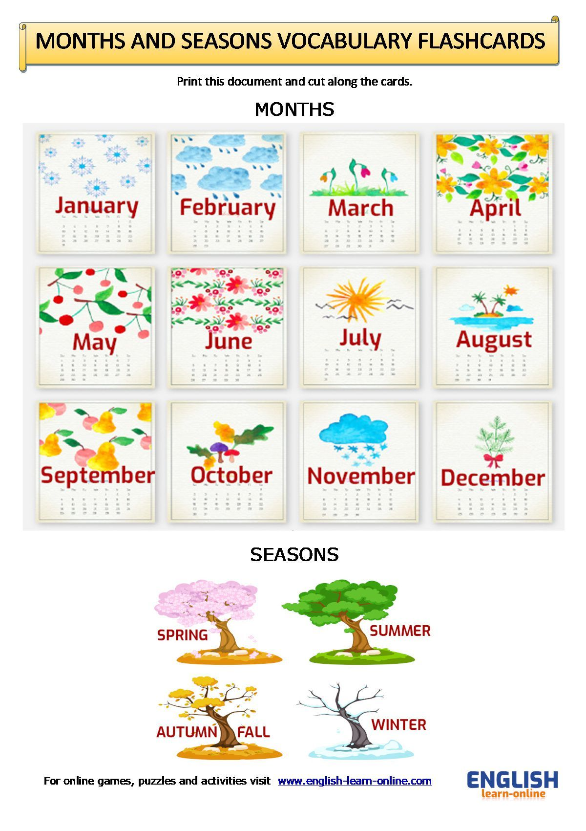 Days Months Seasons Vocabulary Flashcards Worksheet In