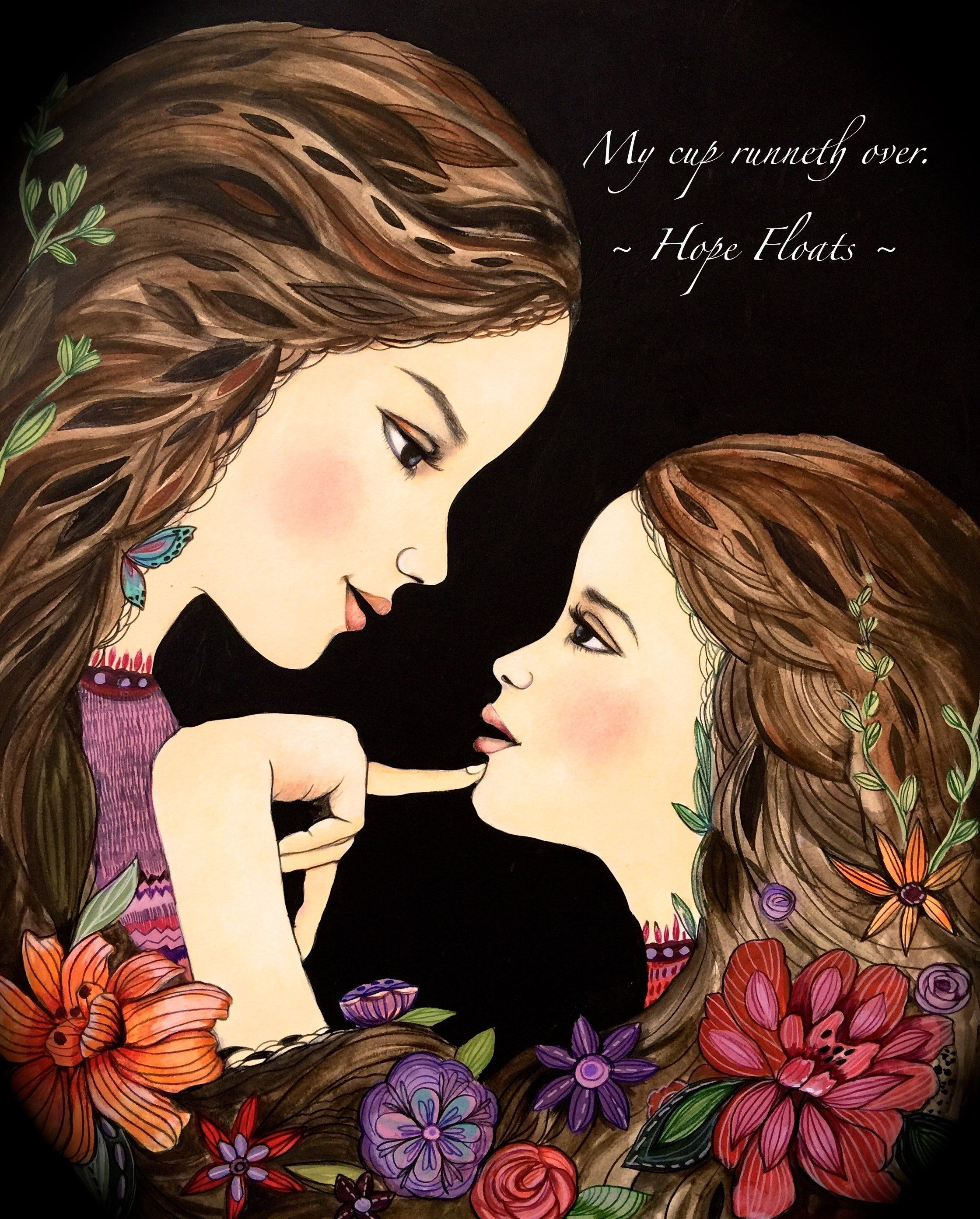 My cup runneth over. Hope Floats mother daughter art gift by claudiatremblay on Etsy