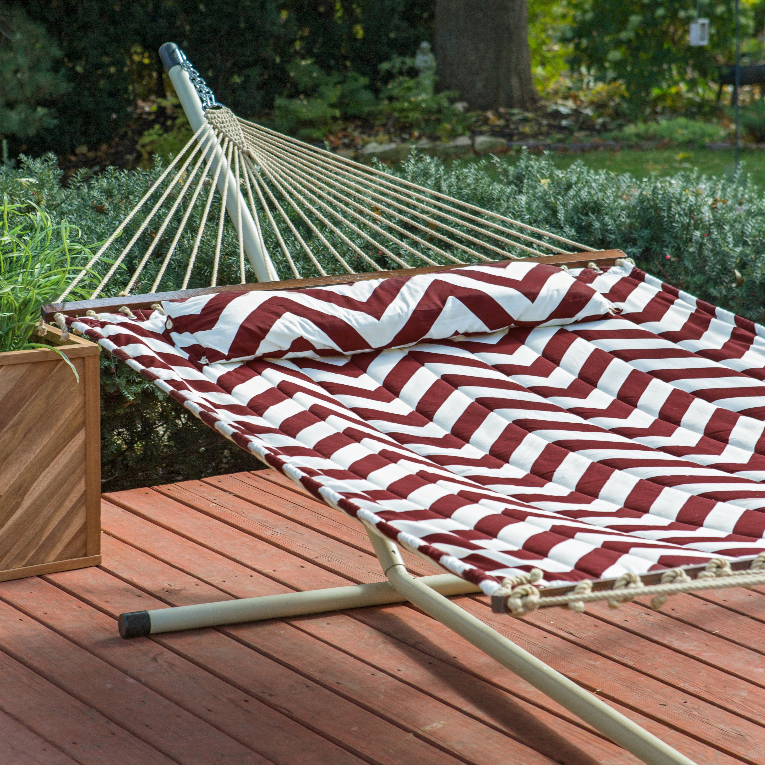 chevron stripe quilted hammock with 15 ft  hammock stand   put your back into it  oh not the yard work this island bay 13 ft  have to have it  island bay 13 ft  chevron stripe quilted hammock      rh   pinterest