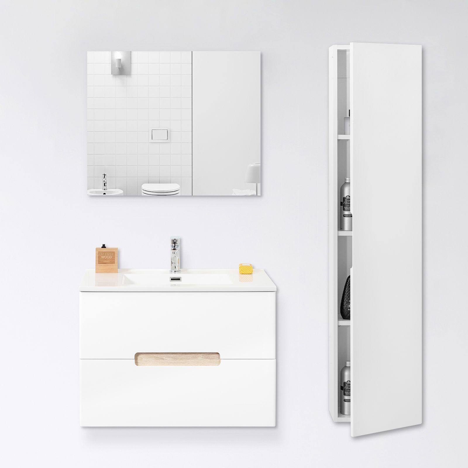 Mobile bagno moderno 60 cm bianco con inserti legno