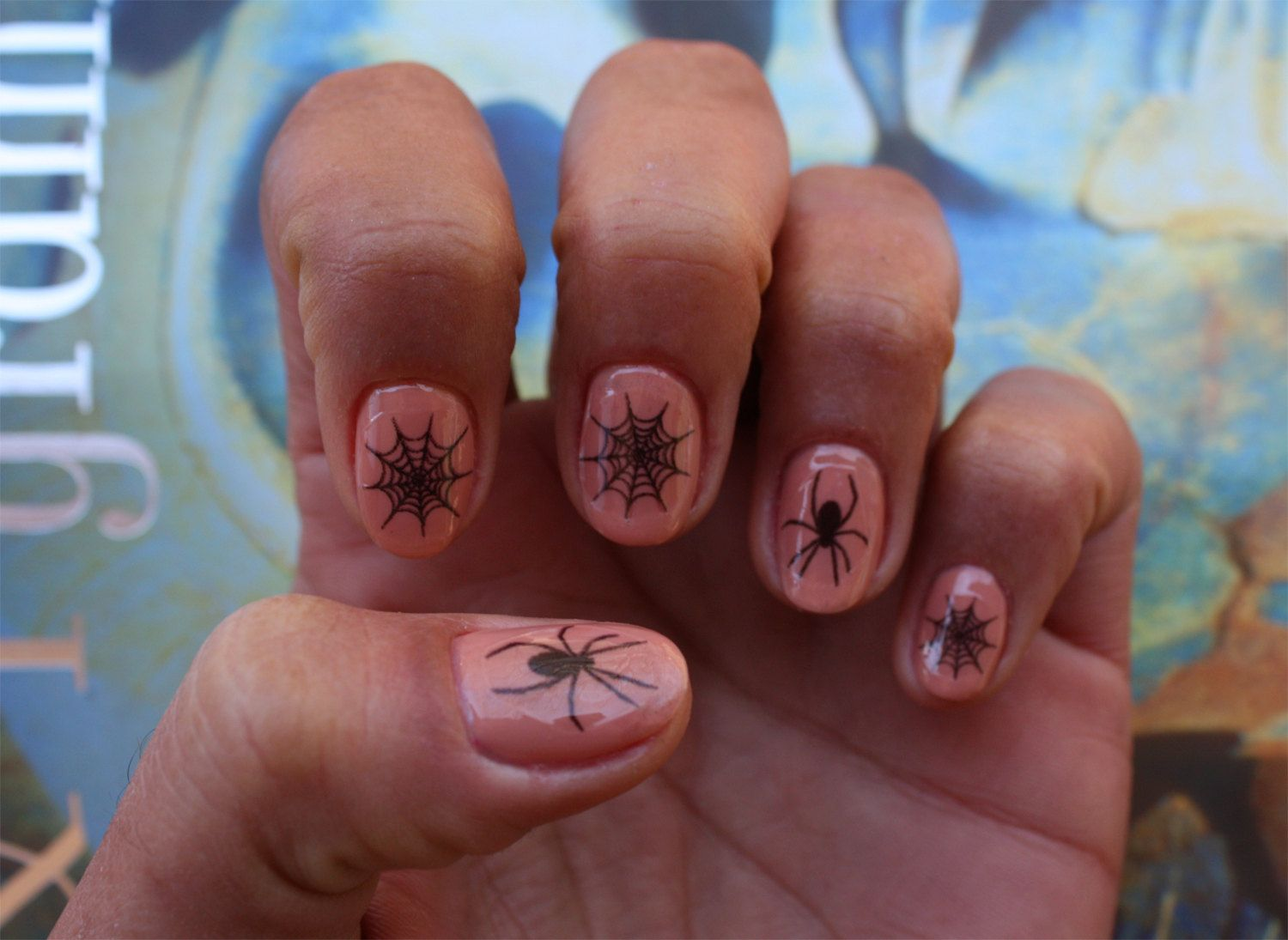 Black Spider and Spider Web Nail Art