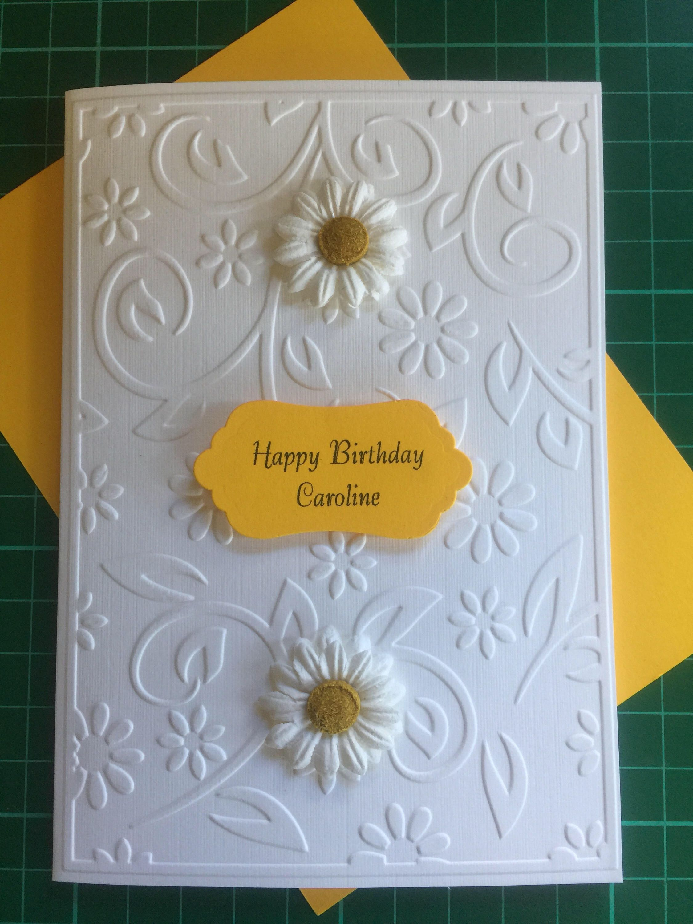 Handmade And Personalised Embossed Birthday Or Anniversary Card By