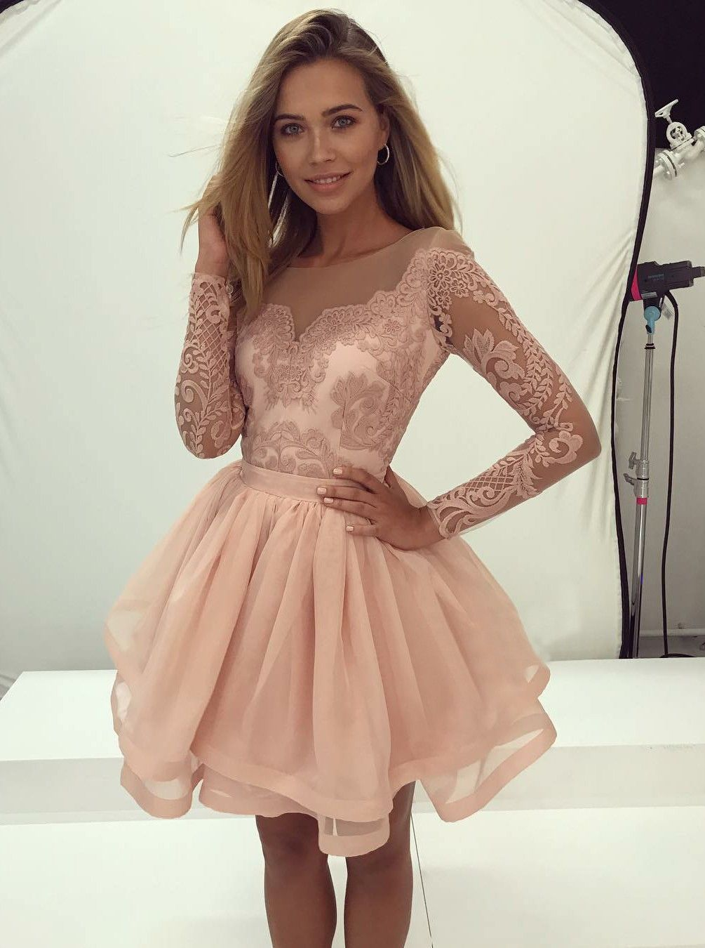 44c139d40cf Delicate Long Sleeve Lace Short Illusion A-line Homecoming Dress ...