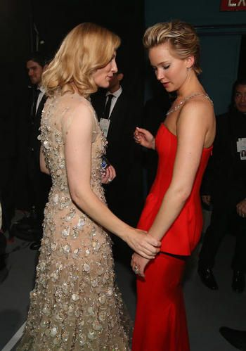 Cate Blanchett and Jennifer Lawrence Oscar 2014. I'd love to see them together in a film