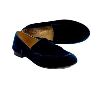 Robert Clergerie Dark Teal Velvet Slippers