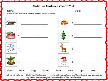 Free Sample Word Work Printable From Christmas Sentences Game A
