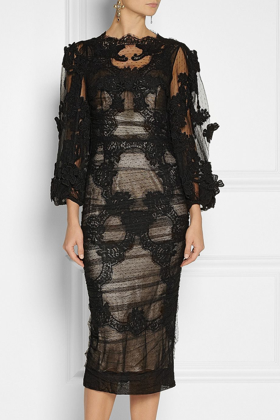 lace and ruched sheer dress - Black Dolce & Gabbana