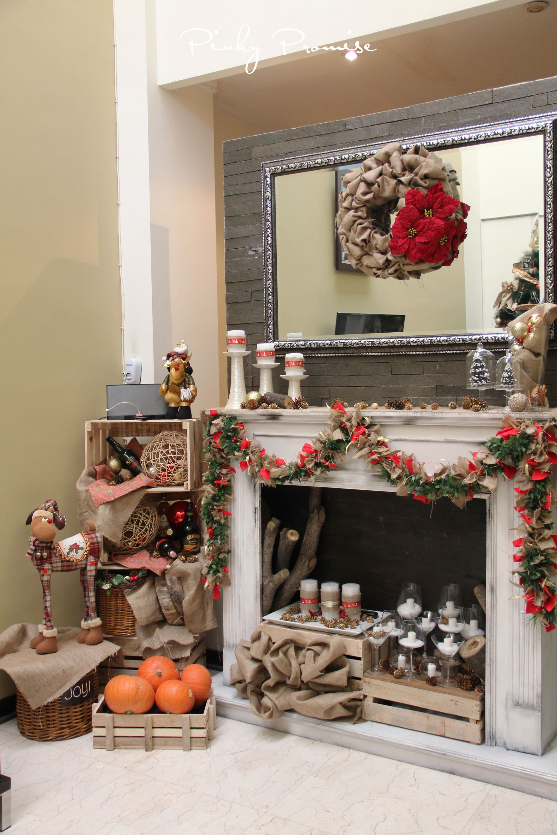 merry christmas #rustic #holidays #christmas #pinecones #fireplace #burlap #reindeer
