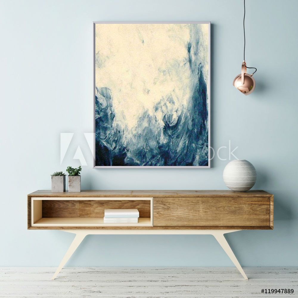Cream Blue Large Abstract 70 X 70 Cm Canvas Large Print Modern Wall Art  Decor Abstract