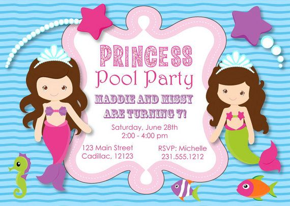 Princess Pool Party Invitation Mermaid Pool by FabPartyPrints Kids