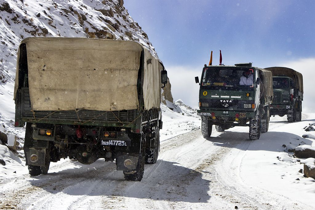 Indian Army Trucks Head To And Back From The Worlds Highest