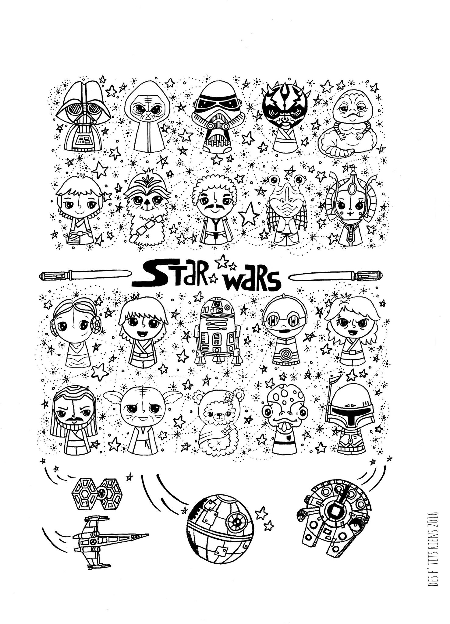 affiche black and white star wars kawaii