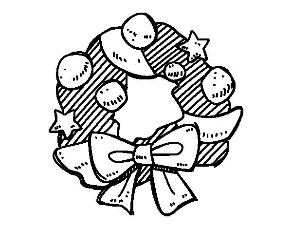 Corona de navidad para dibujar