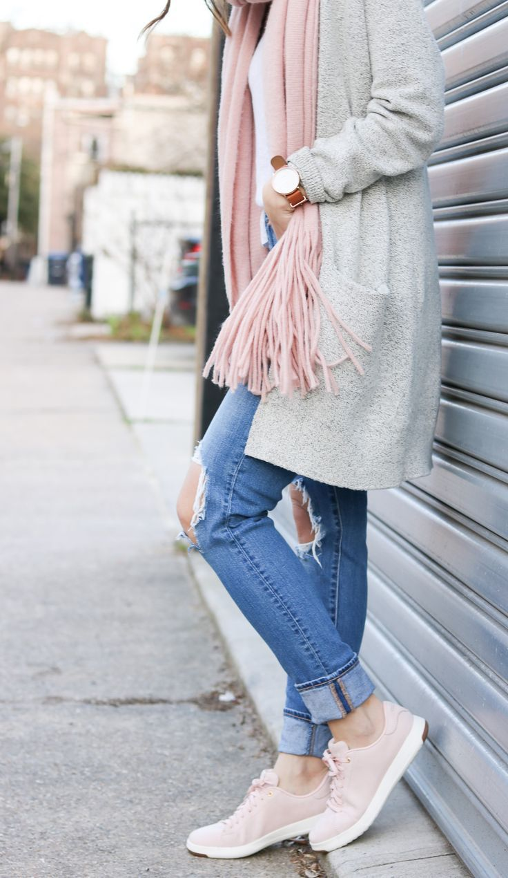 perfect blush sneakers outfit 2017