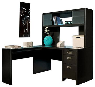 Kathy Ireland by Bush New York Skyline L-Shape Desk with Hutch - küche farben ideen
