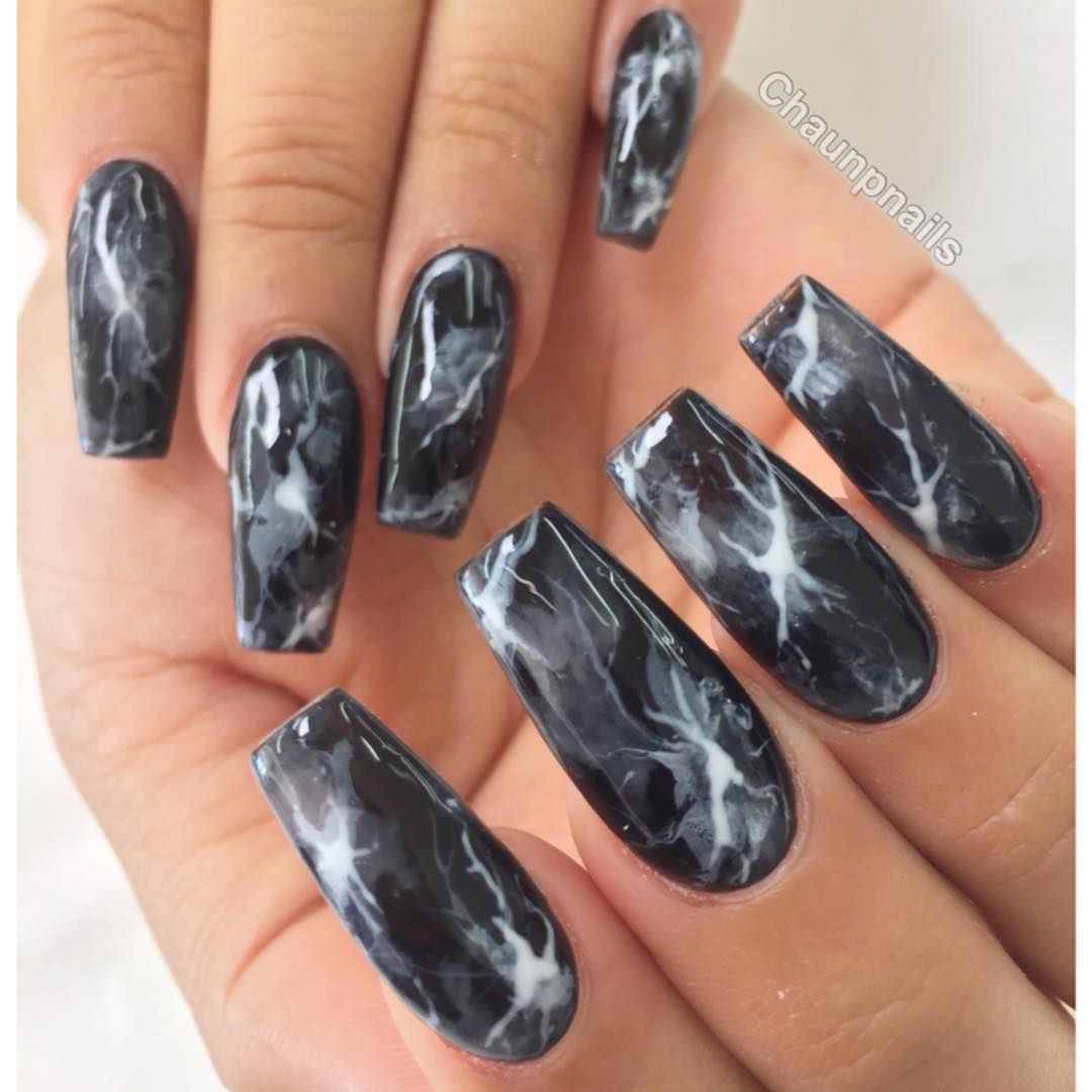 Black Smoke Marble Long Square Tip Nails #nail #nailart | nails ...