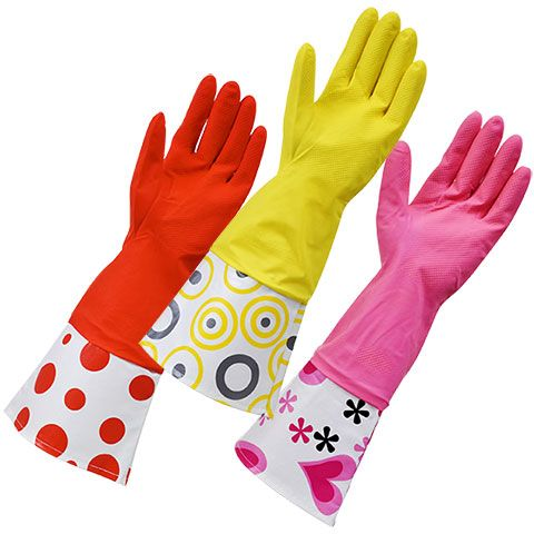 colour pink//red Latex rubber gloves size medium