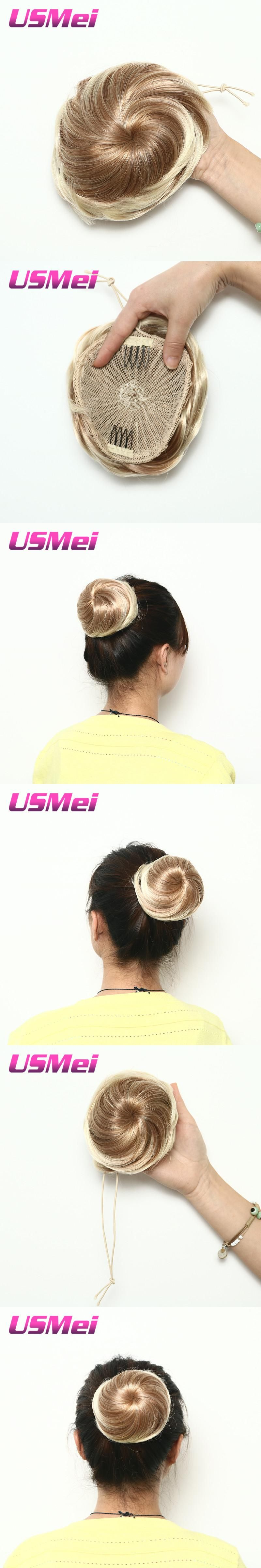 Usmei Womens Elastic Net Curly Chignon With Two Plastic Combs Updo