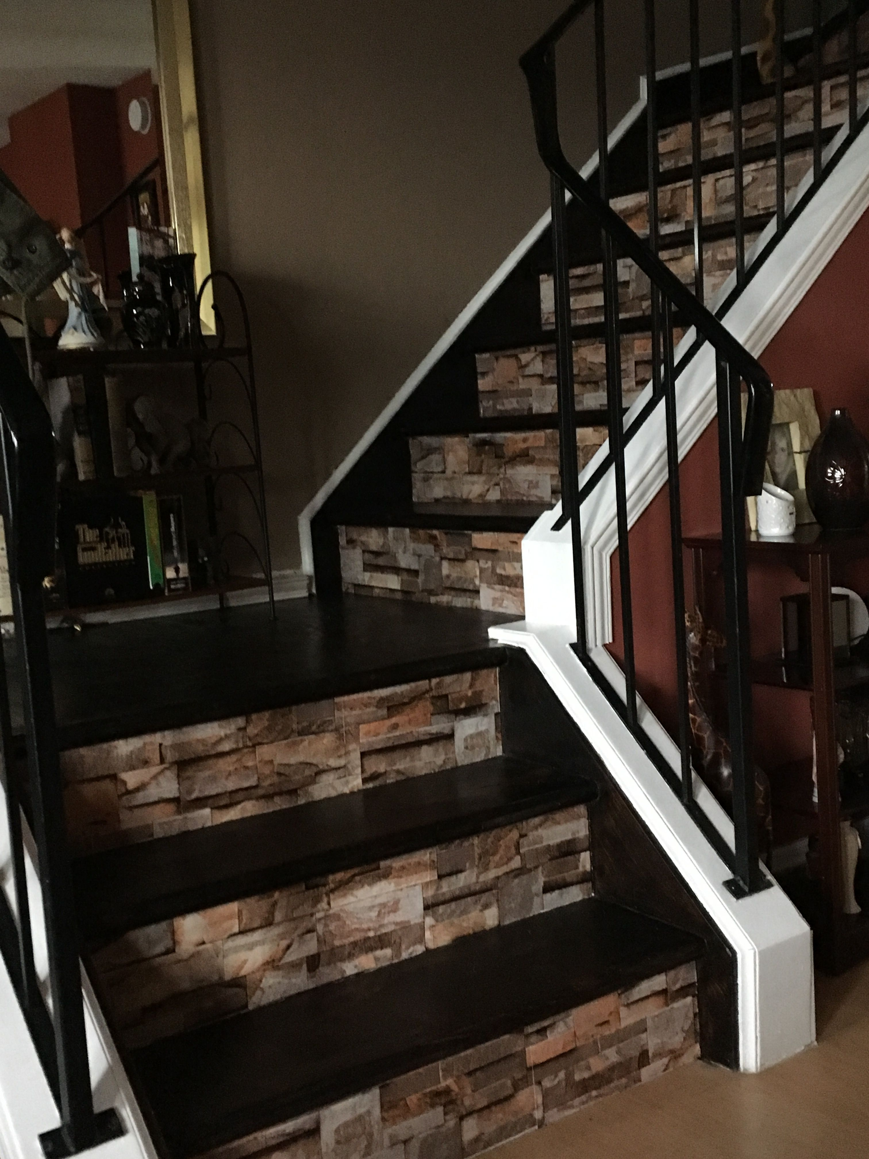 Our Stairs We Made Over Removed The Carpet Refinished The Steps And Put A Vinyl 3d Wall Paper On The Risers I Lo Staircase Remodel Home Remodeling New Homes