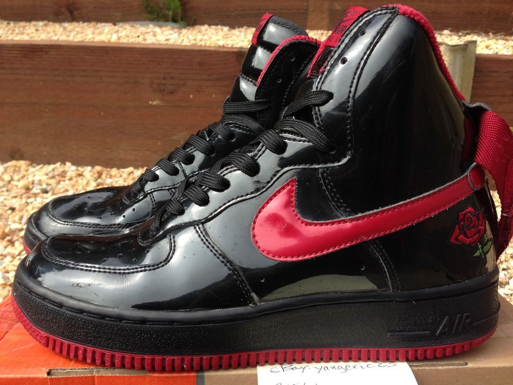 000d100b0261 2002 Nike Air Force One High Patent Leather Rose Garden Black Red Men 8  sheed