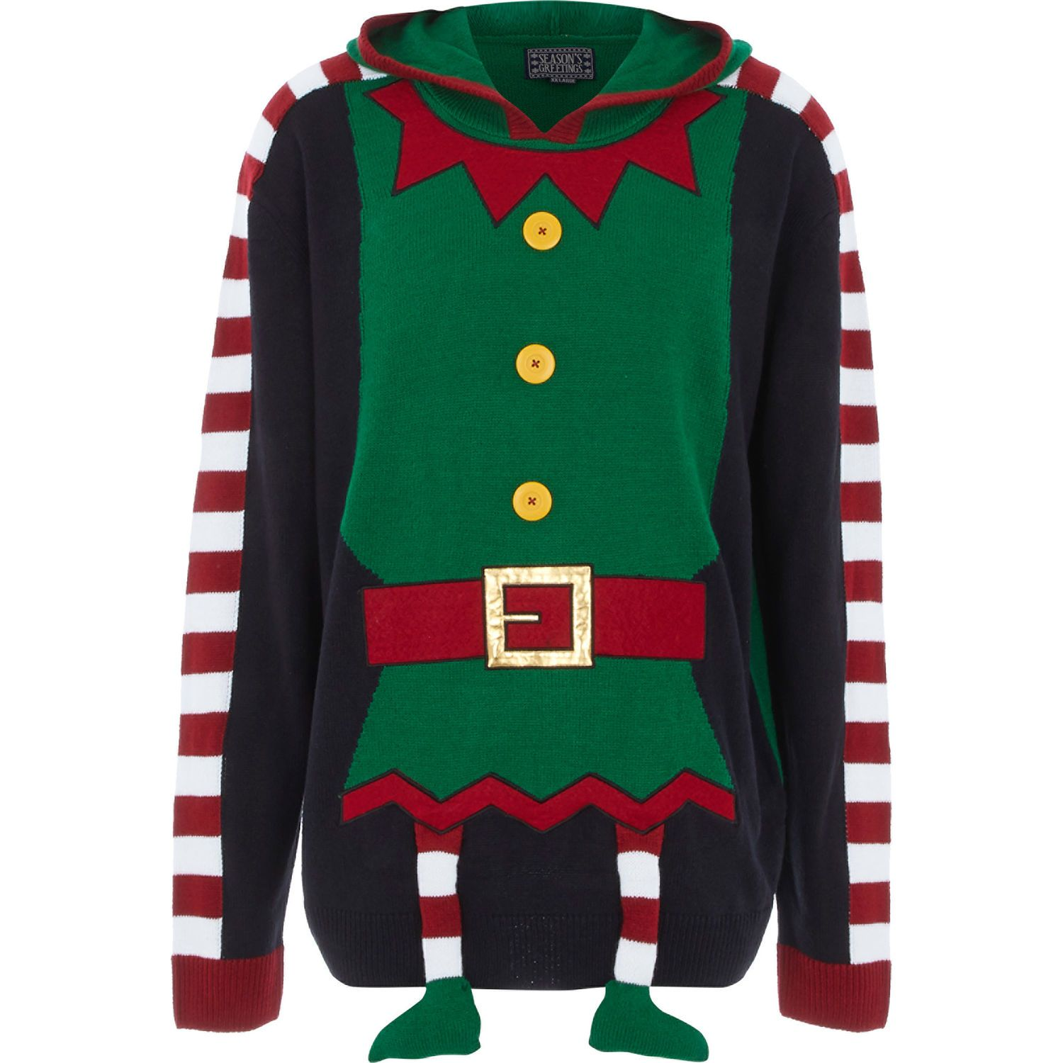 Green Elf Jumper Men's Christmas Jumpers Christmas