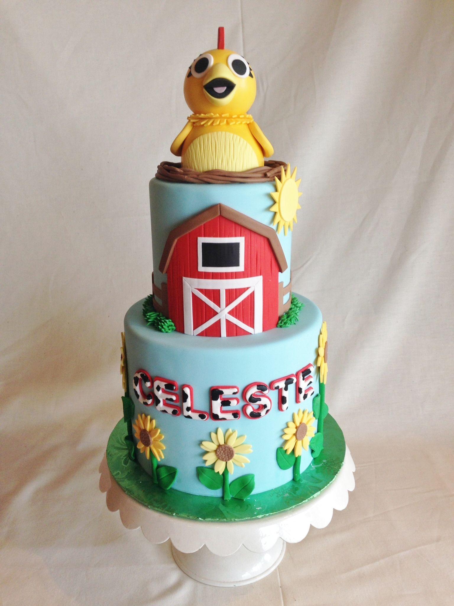 Birthday cake kids cake sunny side up custom topper