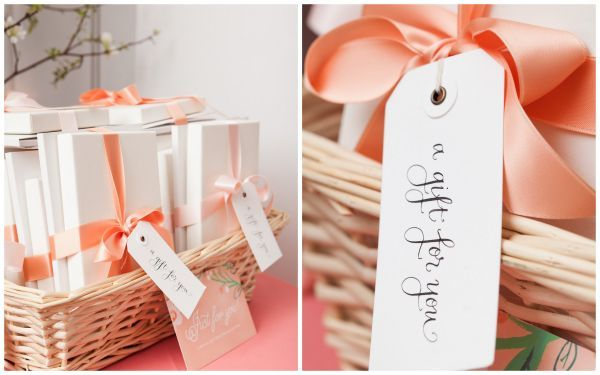 bridal shower inspiration, peach ribbon, calligraphy tags, favors